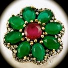 RARE Vintage FLOWER Ruby Emerald Gemstones SOLID 925 STERLING SILVER RING 7 Gold