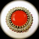 RARE Vintage Estate Round Ruby Gem SOLID 925 STERLING SILVER RING Size 7 Gold