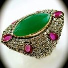 RARE Vintage Estate Ruby Emerald Gemstone SOLID 925 STERLING SILVER RING 10 Gold