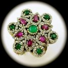 DIAMOND TOPAZ Vintage Ruby Emerald Gems SOLID 925 STERLING SILVER RING 9.5 Gold
