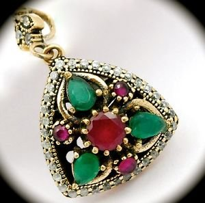 DIAMOND TOPAZ Ruby Emerald Gems SOLID 925 STERLING SILVER NECKLACE PENDANT Gold