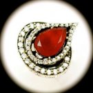 DIAMOND TOPAZ Estate Pear Ruby Gems SOLID 925 STERLING SILVER RING Size 7 Gold