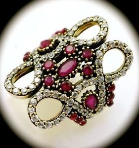 RARE CAGE DESIGN Vintage RUBY Gems SOLID 925 STERLING SILVER RING Size 9 Gold