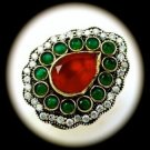 DIAMOND TOPAZ Estate Emerald Ruby Gems SOLID 925 STERLING SILVER RING Sz 7 Gold