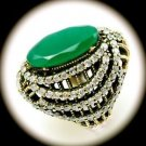 DIAMOND TOPAZ Vintage Emerald Gemstones SOLID 925 STERLING SILVER RING 8.5 Gold