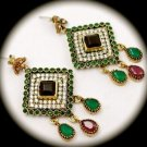Vintage Blood Red Ruby Emerald Gemstones SOLID 925 STERLING SILVER EARRINGS Gold