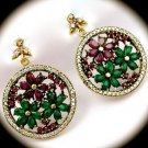 DIAMOND TOPAZ Flower Ruby Emerald Gems SOLID 925 STERLING SILVER EARRINGS Gold