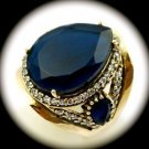DIAMOND TOPAZ Estate Sapphire Gemstones SOLID 925 STERLING SILVER RING Sz 8 Gold