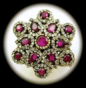 DIAMOND TOPAZ Estate Ruby/Rubies Gems SOLID 925 STERLING SILVER RING Sz 10 Gold