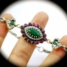 DIAMOND TOPAZ Vintage Ruby Emerald Gems SOLID 925 STERLING SILVER BRACELET Gold
