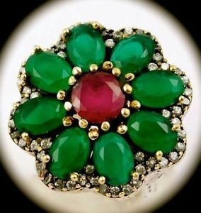 Rare FLOWER Round Ruby Emerald Gem Solid 925 Sterling Silver Ring Sz 7 Gold