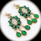 DIAMOND TOPAZ Emerald Dangle Gemstones SOLID 925 STERLING SILVER EARRINGS Gold