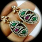 DIAMOND TOPAZ Paisley Ruby Emerald Gems SOLID 925 STERLING SILVER EARRINGS Gold
