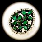 DIAMOND TOPAZ Estate Emerald Gemstone SOLID 925 STERLING SILVER RING Size 7 Gold