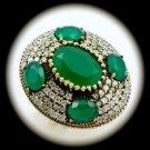 DIAMOND TOPAZ Estate Emerald Gemstone SOLID 925 STERLING SILVER RING Size 9 Gold
