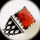 RARE Estate Vintage MAN Ruby Red Gemstone SOLID 925 STERLING SILVER RING Size 11