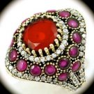 DIAMOND TOPAZ Estate Ruby/Rubies Gems SOLID 925 STERLING SILVER RING Size 8 Gold