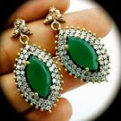 DIAMOND TOPAZ Vintage Emerald Gemstones SOLID 925 STERLING SILVER EARRINGS Gold