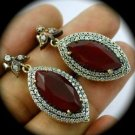 DIAMOND TOPAZ Ruby/Rubies Gems/Gemstone SOLID 925 STERLING SILVER EARRINGS Gold
