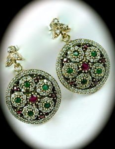 DIAMOND TOPAZ Vintage Emerald Ruby Gems SOLID 925 STERLING SILVER Earrings Gold