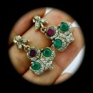 DIAMOND TOPAZ Ruby Emerald Gem/Gemstones SOLID 925 STERLING SILVER EARRINGS Gold