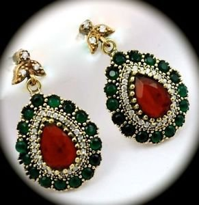 DIAMOND TOPAZ Emerald Ruby Gem/Gemstones SOLID 925 STERLING SILVER EARRINGS Gold