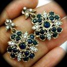 DIAMOND TOPAZ Vintage Sapphire Gemstones SOLID 925 STERLING SILVER EARRINGS Gold