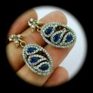 DIAMOND TOPAZ Paisley Vintage Sapphire SOLID 925 STERLING SILVER EARRINGS Gold