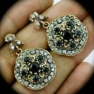 DIAMOND TOPAZ Estate Vintage Sapphire SOLID 925 STERLING SILVER EARRINGS Gold