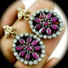 DIAMOND TOPAZ Ruby/Rubies Gems/Gemstones SOLID 925 STERLING SILVER EARRINGS Gold