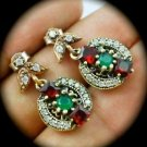 DIAMOND TOPAZ Emerald Ruby/Rubies Gems SOLID 925 STERLING SILVER EARRINGS Gold