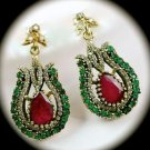 DIAMOND TOPAZ Ruby/Emerald Royal Gems SOLID 925 STERLING SILVER EARRINGS Gold