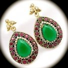 DIAMOND TOPAZ Pear Emerald/Ruby Gemstone SOLID 925 STERLING SILVER EARRINGS Gold