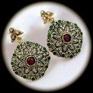 RARE Vintage Ruby Emerald Gems/Gemstones SOLID 925 STERLING SILVER EARRINGS Gold