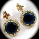 DIAMOND TOPAZ Estate Sapphire Gemstones SOLID 925 STERLING SILVER EARRINGS Gold