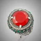 Rare Vintage Round Ruby Emerald Gem Solid 925 Sterling Silver Ring Sz 8 Gold