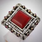 Rare Vintage Round Ruby/Rubies Gem Solid 925 Sterling Silver Ring Size 7 Gold