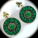 RARE Vintage Estate Emerald Gemstones SOLID 925 STERLING SILVER EARRINGS Gold