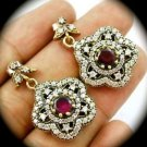 DIAMOND TOPAZ Flower Ruby/Rubies Gems SOLID 925 STERLING SILVER EARRINGS Gold