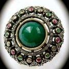 DIAMOND TOPAZ Estate Emerald Ruby Gems SOLID 925 STERLING SILVER RING Sz 10 Gold