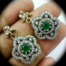 DIAMOND TOPAZ Vintage Emerald Gemsstone SOLID 925 STERLING SILVER EARRINGS Gold