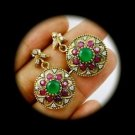 DIAMOND TOPAZ Estate Emerald Ruby Gems SOLID 925 STERLING SILVER EARRINGS Gold