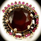 DIAMOND TOPAZ Estate Round Ruby Gems SOLID 925 STERLING SILVER Ring Size 10 Gold