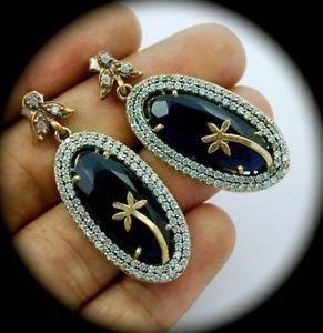 DIAMOND TOPAZ Sapphire Gems SOLID 925 STERLING SILVER EARRINGS Gold PALM TREE