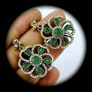 DIAMOND TOPAZ Vintage Estate Emerald Gem SOLID 925 STERLING SILVER EARRINGS Gold
