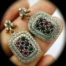 DIAMOND TOPAZ Ruby/Emerald Gem/Gemstone SOLID 925 STERLING SILVER EARRINGS Gold