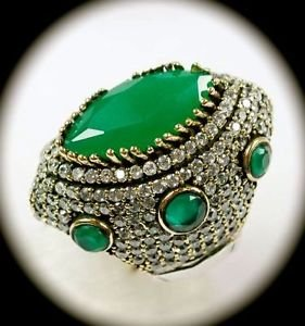 DIAMOND TOPAZ Estate Emerald Gemstones SOLID 925 STERLING SILVER RING 6.5 Gold