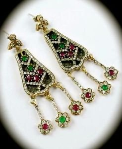 DIAMOND TOPAZ Christmas Ruby/Emerald Gem SOLID 925 STERLING SILVER EARRINGS Gold