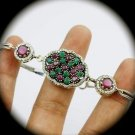 DIAMOND TOPAZ Ruby Emerald Gem/Gemstones SOLID 925 STERLING SILVER BRACELET Gold