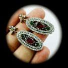 DIAMOND TOPAZ Vintage Ruby Emerald Gem SOLID 925 STERLING SILVER EARRINGS Gold
